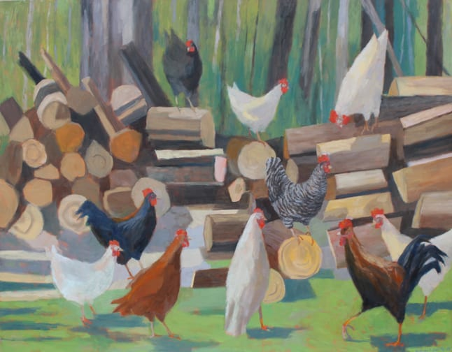 Andras Bality_Chickens_in_the_Woodpile_44_x_56_inches_oil_on_canvas_sf_2018