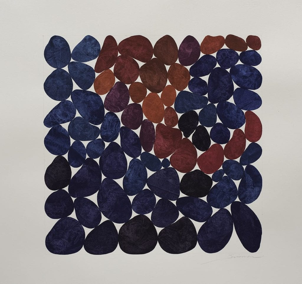 Nancy Simonds, Carmine and Magenta Locus, 22x22 inches, gouache on paper